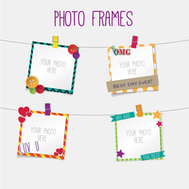 Cute retro photo frames hanging Vector | Free Download
