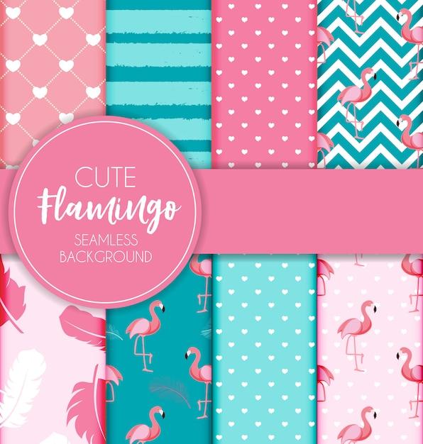 Cute retro seamless flamingo pattern collection set Premium Vector
