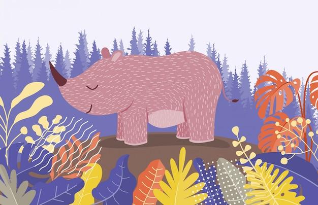 Милый мультфильм носорог между джунглями с листьями и деревьями. Premium векторы