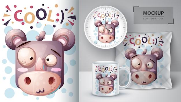 Cute rhino with fish poster and merchandising Premium Vector