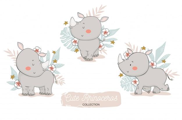 Cute rhinoceros baby. jungle animal cartoon character. Premium Vector