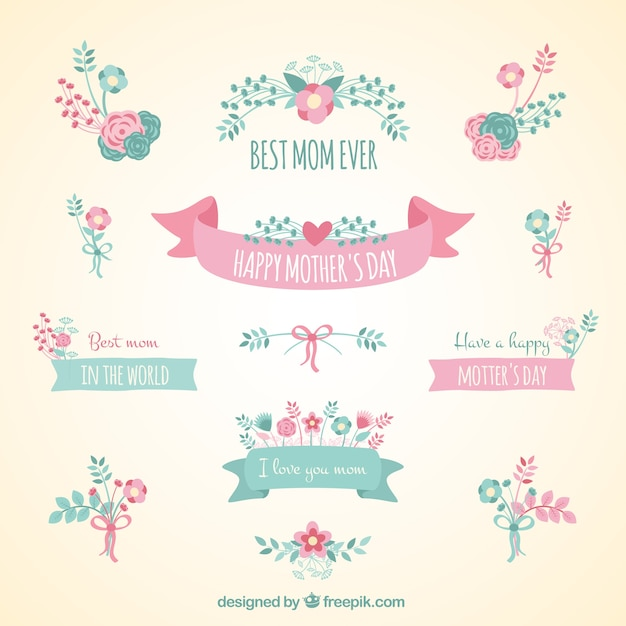 cute ribbon banners for mothers day vector free download