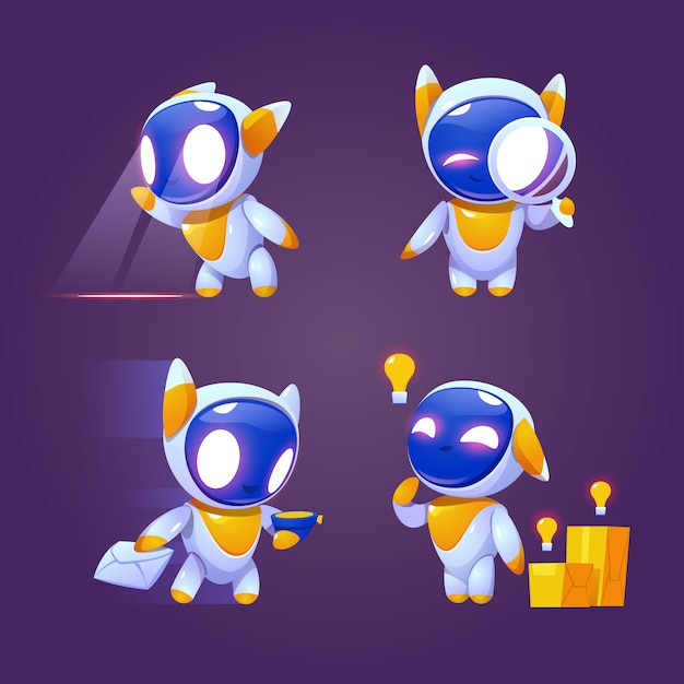 Cute robot character in different poses Free Vector