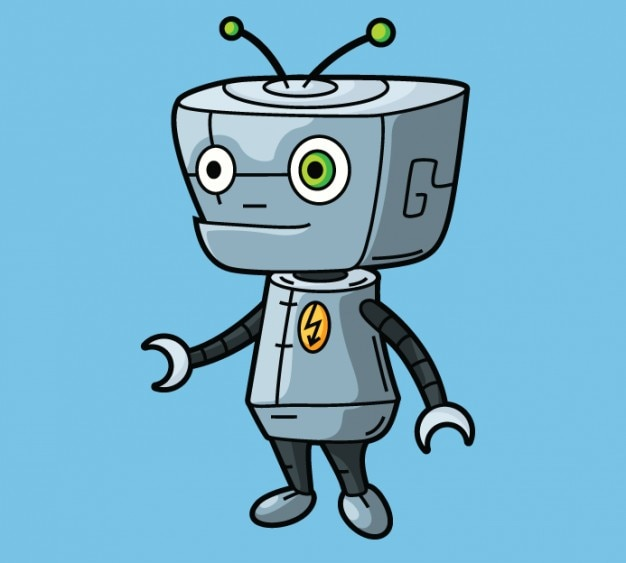 Cute Cartoon Character Design : Cute robot character in cartoon design vector free download