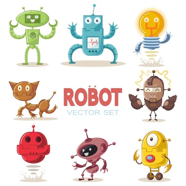 Cute robot flat cartoon character set. Premium Vector