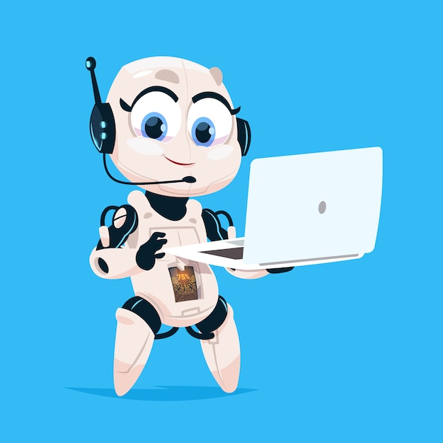 Cute robot hold laptop computer chat bot robotic girl isolated icon on blue background Premium Vector