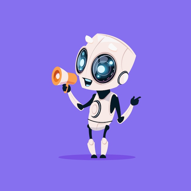 Cute robot hold megaphone isolated icon on blue background modern technology artificial intelligence Premium Vector