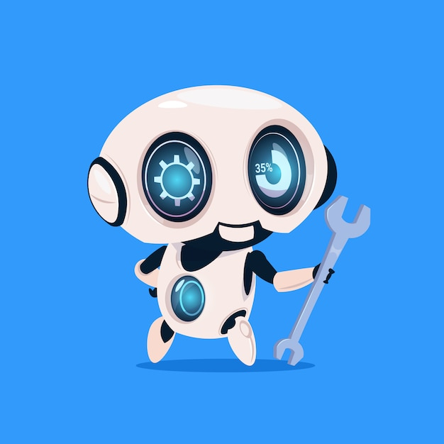 Cute robot hold wrench isolated icon on blue background modern technology artificial intelligence Premium Vector