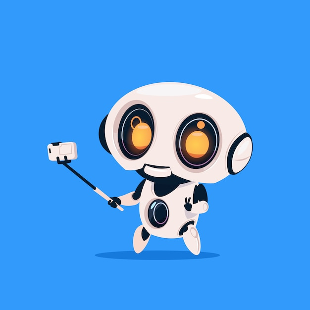 Cute robot take selfie photo isolated icon on blue background modern technology artificial intelligence Premium Vector