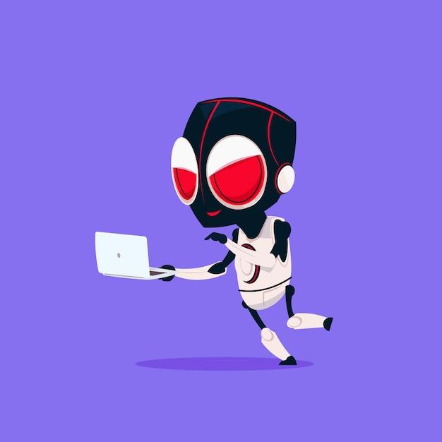 Симпатичный робот носить хакер маску использовать ноутбук изолированные значок на синем фоне современные технологии искусственного интеллекта Premium векторы