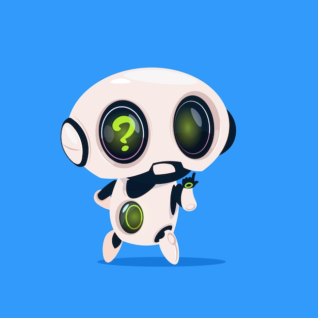 Cute robot with question mark isolated icon on blue background modern technology artificial intelligence Premium Vector