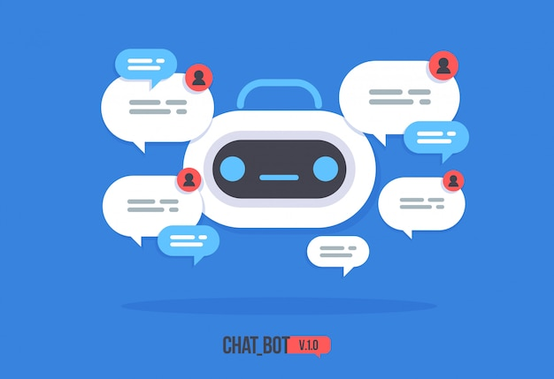 Cute robot with speech bubble support service chat bot vector modern flat cartoon character smart chat helper. Premium Vector