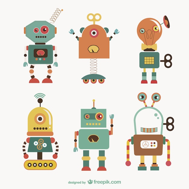 Cute robots collection Free Vector