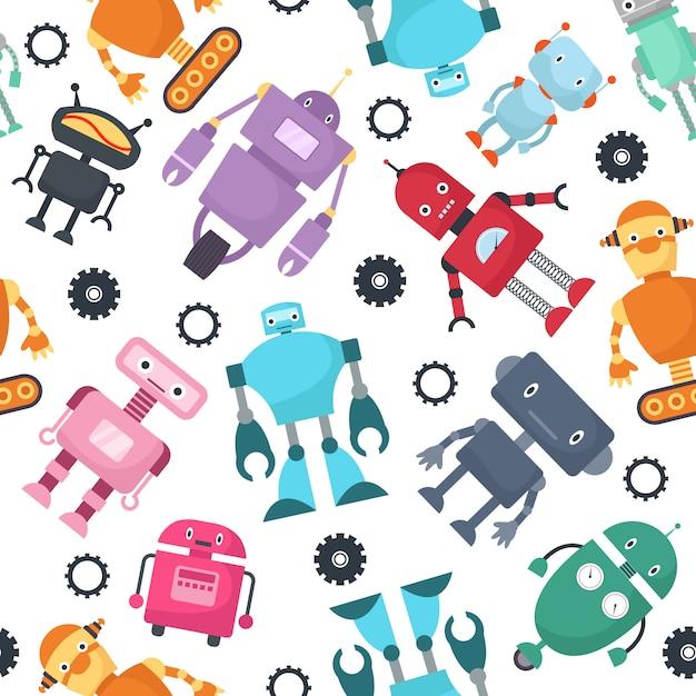 Cute robots futuristic kids vector seamless pattern Premium Vector