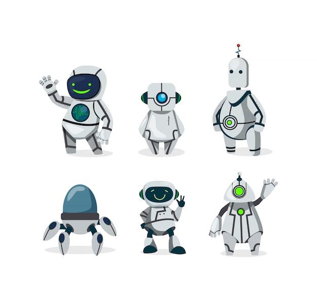 Набор симпатичных роботов Бесплатные векторы