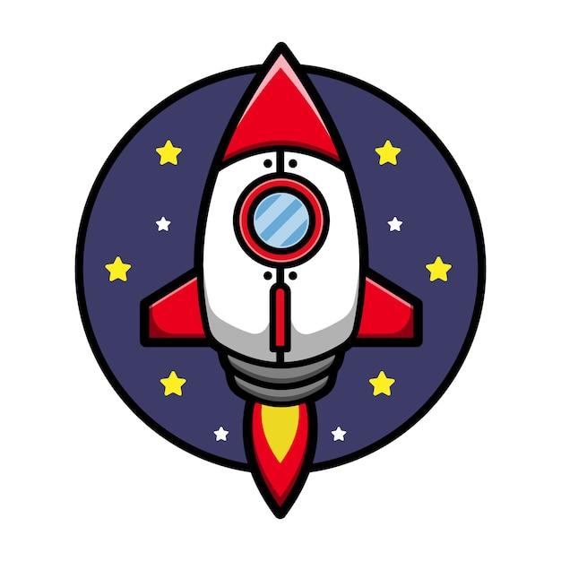 Cute rocket cartoon  icon illustration Premium Vector