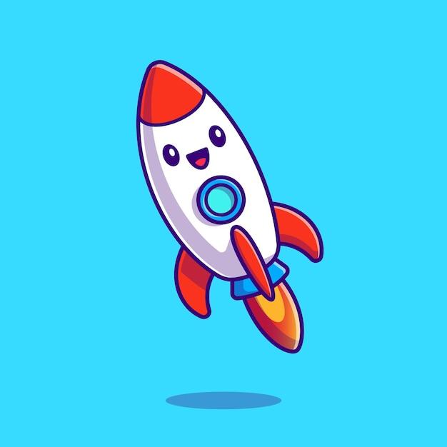 Симпатичные запуск ракеты мультфильм значок иллюстрации. Бесплатные векторы