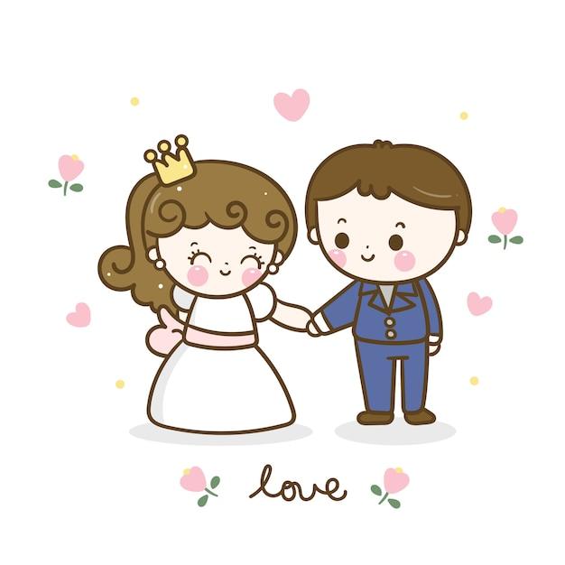 Cute romantic couple cartoon holding hand Premium Vector