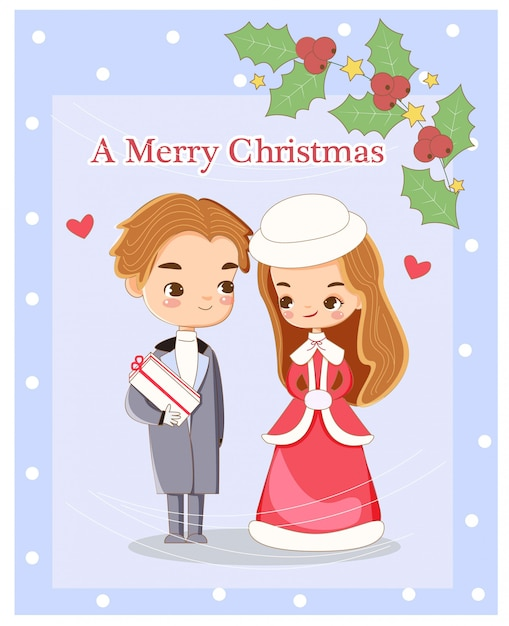 Cute romantic couple for christmas greeting carrd Premium Vector