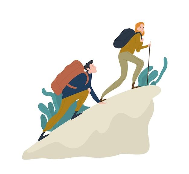 Милая романтическая пара, поднимающаяся на скалу или гору. пара забавных туристов, туристов или альпинистов, изолированных на белом фоне. Premium векторы