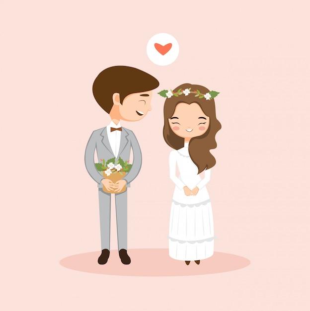 Cute romantic couple  in love Premium Vector