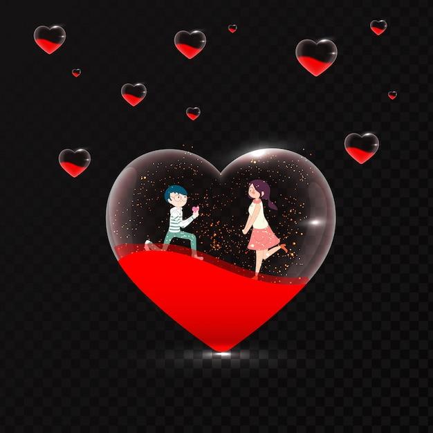Cute romantic couple in transparent heart shape on black backgro Premium Vector