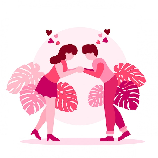 Cute romantic пара валентина Premium векторы