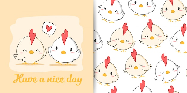 Cute rooster chicken cartoon doodle seamless pattern greeting card Premium Vector