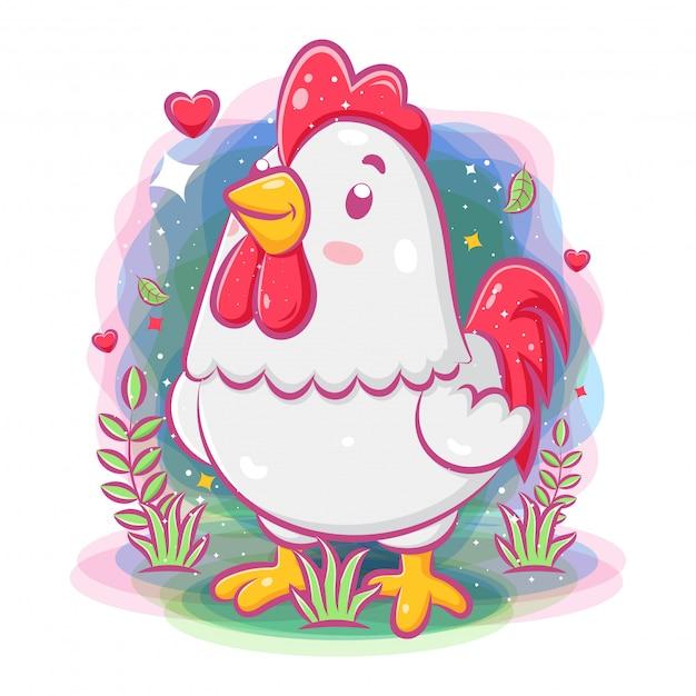 庭の周りのかわいい鶏の遊び Premiumベクター