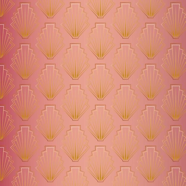 Cute rose gold art deco pattern Free Vector