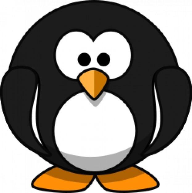 Cute round cartoon penguin | Free Vector