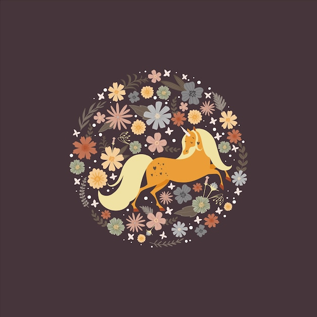 Cute round frame with a magic unicorn surrounded by flower Premium Vector