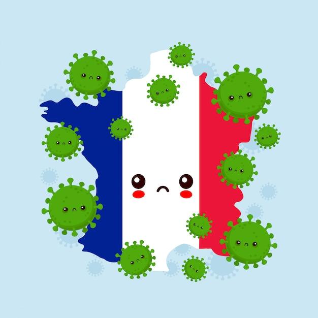 かわいい悲しいフランスがコロナウイルス感染を攻撃しました。フラットスタイル漫画キャライラスト Premiumベクター