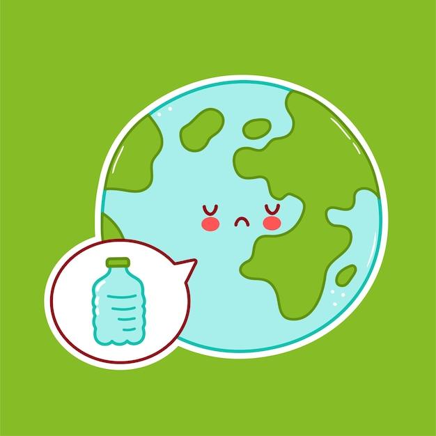 Милый грустный забавный персонаж планеты земля и пластиковая бутылка в речевом пузыре Premium векторы