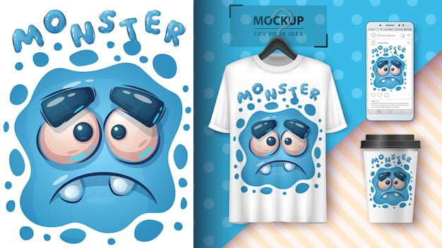 Cute sad monster poster and merchandising Free Vector
