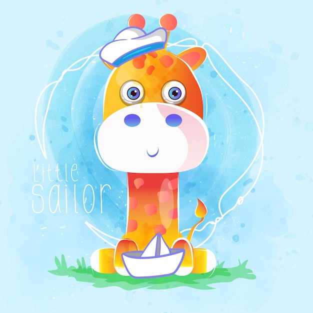Cute sailor baby giraffe Premium Vector