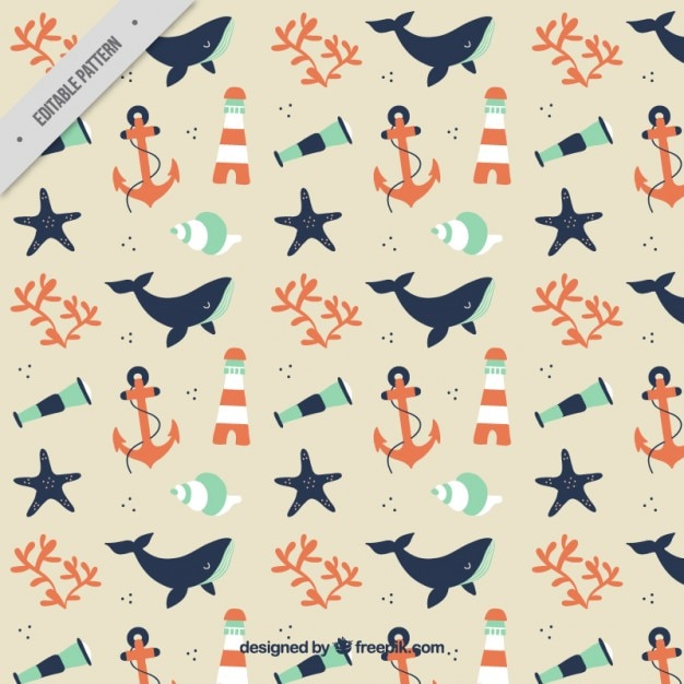 Cute Sailor Pattern With Whale And Elements Vector Free Download Magnificent Whale Pattern