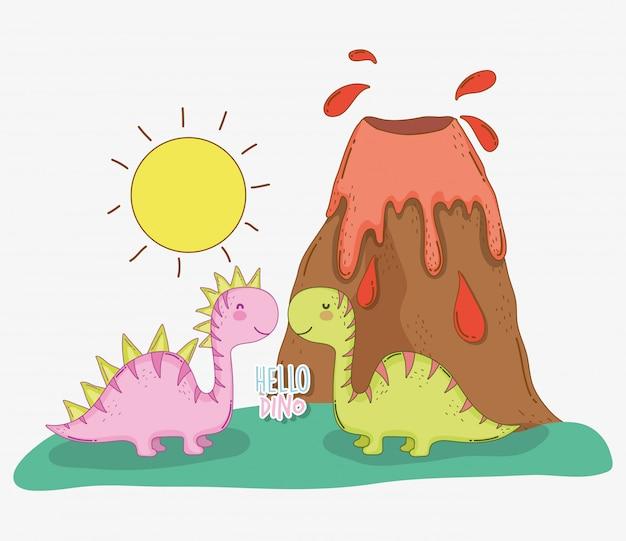 Симпатичная салазавр дино с вулканом и солнцем Premium векторы