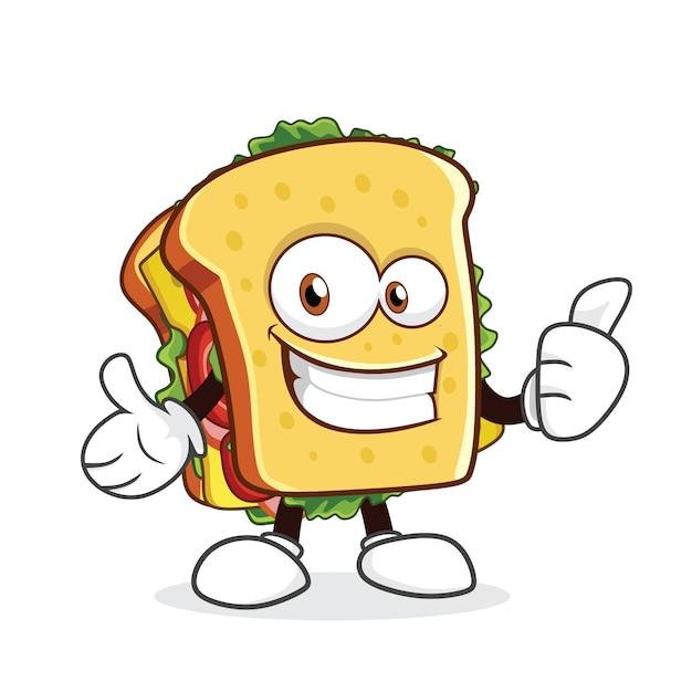 Cute sandwich cartoon character showing thumb up Premium Vector