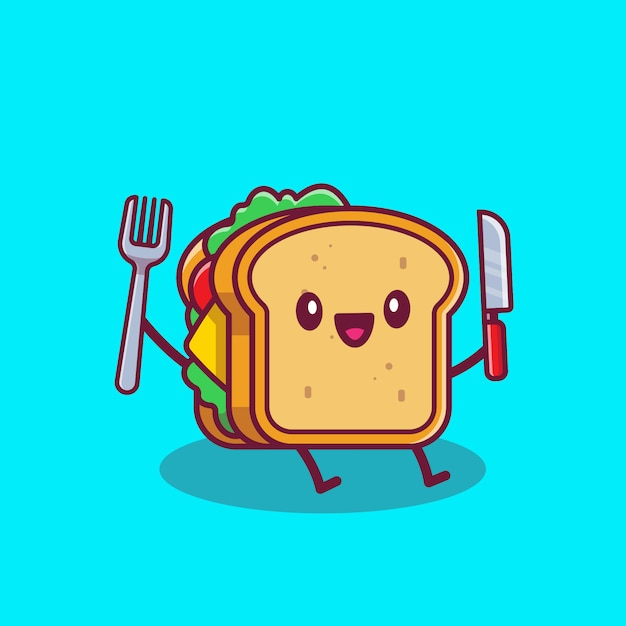 ナイフとフォークの漫画アイコンイラストを保持しているかわいいサンドイッチ。分離されたファーストフード漫画アイコンコンセプト。フラット漫画のスタイル Premiumベクター
