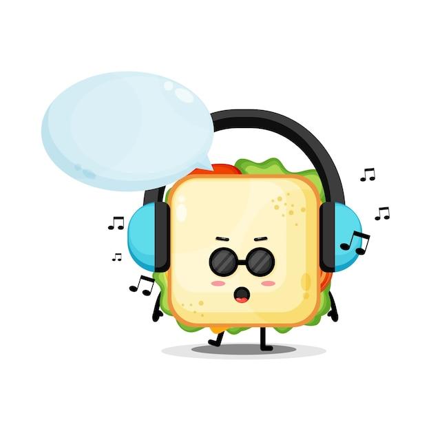 音楽を聴くかわいいサンドイッチマスコット Premiumベクター