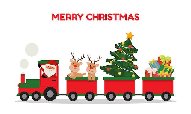 귀여운 산타와 순록이 크리스마스 기차를 타고. 겨울 휴가 클립 아트. 선물과 크리스마스 트리를 운반하는 기차. 플랫 벡터 만화 스타일 절연입니다. 프리미엄 벡터