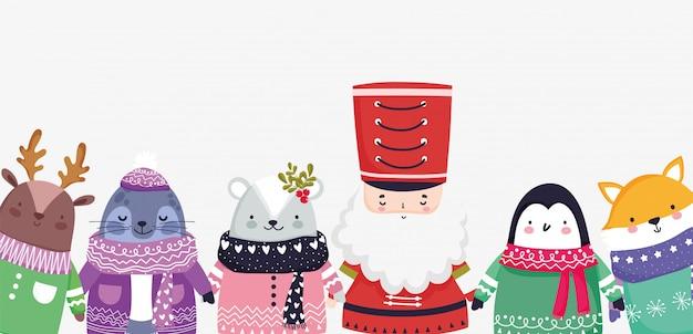 Cute santa and animals Premium Vector