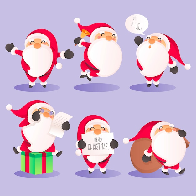 Cute Santa Character Collection in Different Actions Free Vector