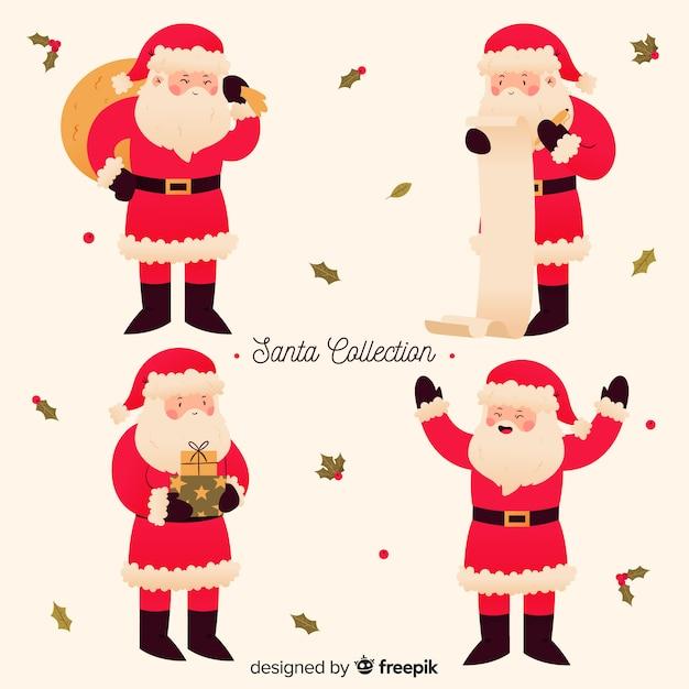 Cute santa character collection Free Vector