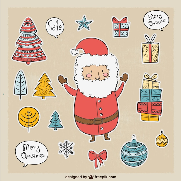 Cute Santa Claus and other Christmas elements