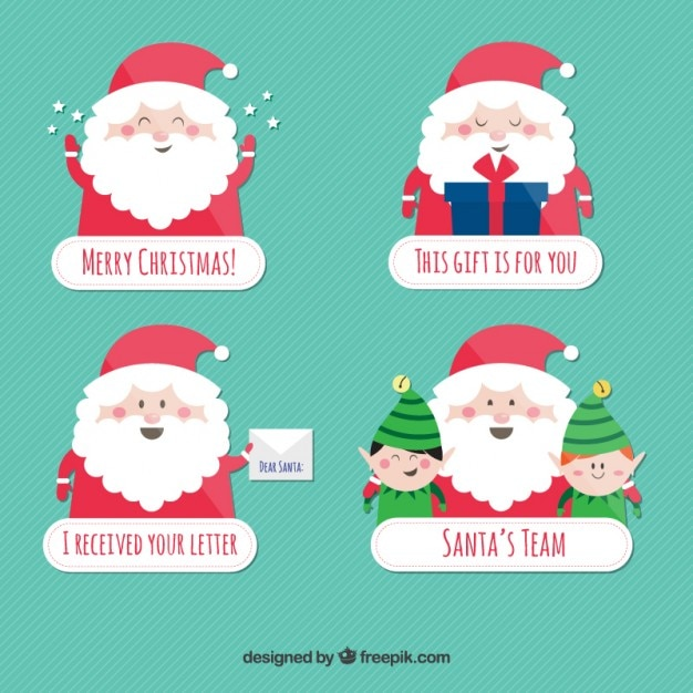 Cute santa claus badges