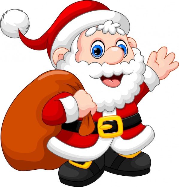 Premium Vector Cute Santa Claus Cartoon Waving And Carrying Christmas Gift