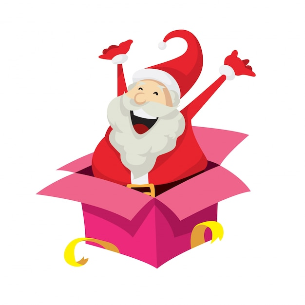 Cute Santa Claus Character Surprise