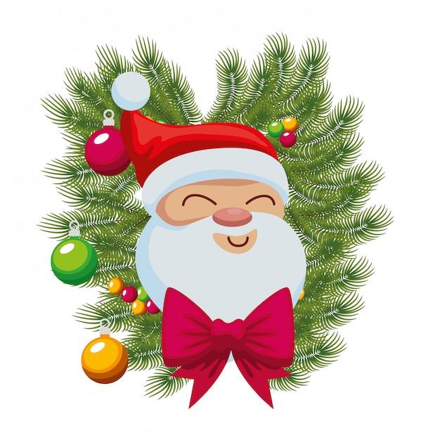 efca716f9d645 Cute santa claus character with crown and balls Premium Vector